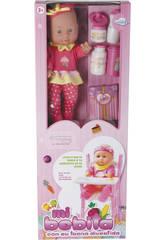 Bambola Bebè 30cm con seggiolone e accessori
