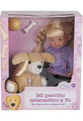 Puppe 33cm mit interaktivem Haustier 15cm