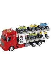 Camion Rojo Friccion con Remolque y 6 vehiculos