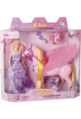 Bambola Assortita Principessa Sposa Olivia e il suo Unicorno Alato Con Accessori 30cm