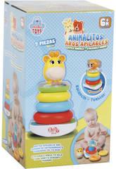 Juguete Para Bebé Animalito Surtido Aros Apilables y Sonido 21cm 7 Piezas
