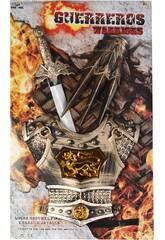 Accessori Set Guerriero 3 pezzi, Armatura, Braccialetto e Spada 51 cm
