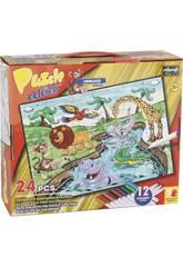 Puzzle à Colorier Animaux de la Jungle 24 Pièces et 12 Feutres 89,5 x 82,5 cm
