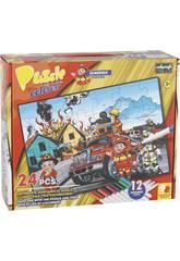 Puzzle Coloreable Bomberos 24 Piezas y 12 Rotuladores 89.5x82.5cm