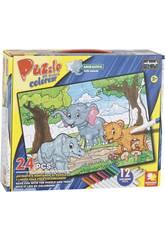 Puzzle Coloreable Animalitos 24 Piezas y 12 Rotuladores 89.5x82.5cm