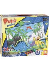 Puzzle à Colorier Dinosaures 24 Pièces et 12 Feutres 89,5 x 82,5 cm