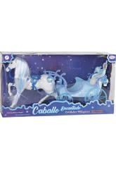 Magisches Pferd mit blauer Kutsche 51 cm.