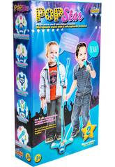 Pop Star Azul Com 2 Microfones Luzes e Pé Ajustável 60 - 104cm
