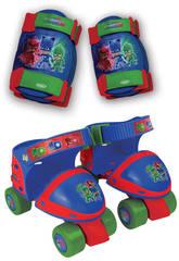 Pyjamasques Patins à Roulettes 4 Roues + Protections Taille Ajustable 24-29 D'Arpeje 0PJM019