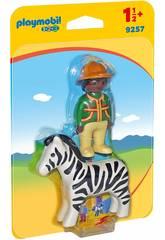 Playmobil 1.2.3 homem com zebra 9257