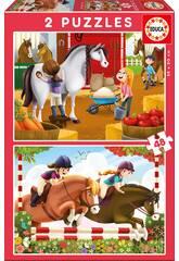Puzzle 2X48 Prendre Soin Des Chevaux Educa 17150