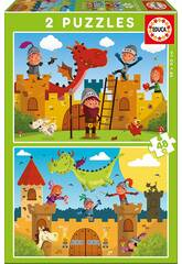 Puzzle 2X48 Dragons et Chevaux Educa 17151