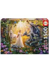 Puzzle 1500 Drago, Principessa e Unicorno Educa 17696