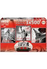 Puzzle 3x500 Grandes Villes Educa 17096