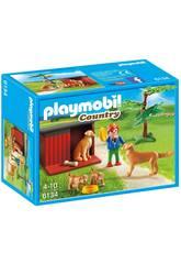 Playmobil Enfant avec famille de golden retrievers