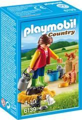 Playmobil Donna con Famiglia di Gatti
