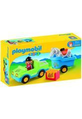 Playmobil 1,2,3 Coche y Remolque