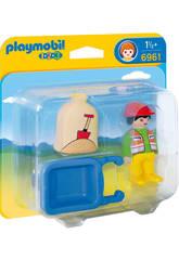 Playmobil 1,2,3 Arbeiter mit Schubkarre