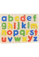 Holzpuzzle Kleinbuchstaben 26 Teilen 30x23cm.