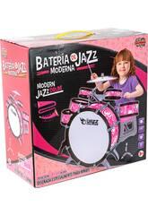 Bateria Rosa Jazz 5 Tambores e Pratos