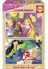 Puzzle 2x50 Princesas Disney 26x18 cm EDUCA 17165
