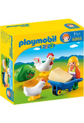 Playmobil 1 2 3 Agricultrice avec Poules