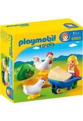 Playmobil 1,2,3 Granjera con Gallinas