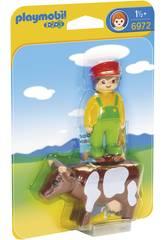 Playmobil 1,2,3 Granjero con Vaca 6972