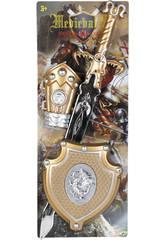 Set Caballero del Dragon Aureo con Espada, Escudo y Brazalete