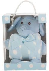 Peluche Eléphant Bleu 26 cm avec Petite Couverture Llopis 25413