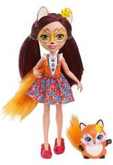 Enchantimals DVH89 Bambola Felicity la Volpe con Amico Cucciolo