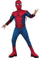 Costume Bambino Spiderman con Maschera e Petto Muscoloso S