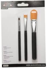 Set de 3 Brochas Maquillaje Distintos Tamaños