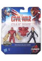 Capitaine América Pack 2 Figurines 6 cm Civil War
