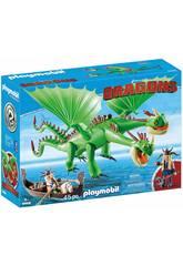 Playmobil Cómo Entrenar a Tu Dragón Chusco y Brusca con Dragón 2 Cabezas 9458