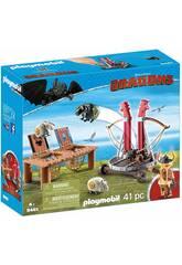 Playmobil Comme formé a votre Dragon Bocon avec Lanceur de Moutons 9461