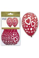 Sac de 6 ballons gonflables coeur Globolandia 5716