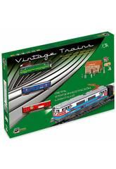 Train Électrique Marchandises à Locomotive Verte et Gare de Pequetren 303