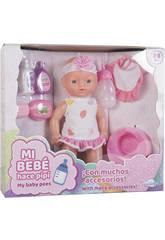 Set Muñeca Bebé 30 cm. Bebe y Orina con Accesorios, Comida y Orinal