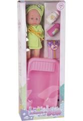 Set Bambola Bebè 30 cm. con vaschetta e accessori da bagno