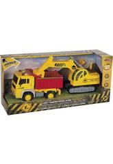 Set 2 Vehiculos Construcción Camión Volquete y Excavadora