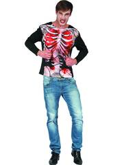Disfraz Adulto Camiseta Zombi Esqueleto Talla XL