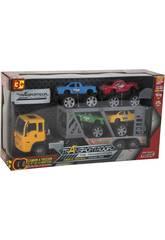 Camion Friccion 29 cm. Porta Vehículos con 4 Jeeps 10 cm.