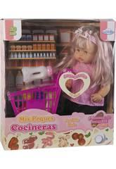 Puppe 40 cm. mit Supermarktwagen und Zubehör