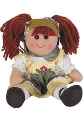 Muñeca Trapo Vestido Cuadros 40 cm.