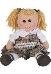 Puppenstoff kariertes Kleid 35 cm.