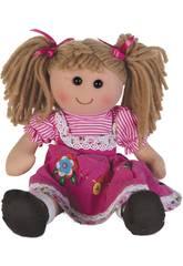 Puppenstoff Rosa Kord Kleid 35 cm.