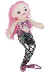 Sirena Rosa Plata Muñeca de Trapo 30 cm.