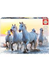 Puzzle 1000 Cavalos Brancos ao Atardecer Educa 17105