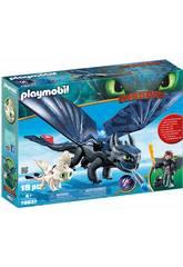 Playmobil Comme Dresser a votre Dragon Hipo et Dedentao avec bébé Dragon 70037